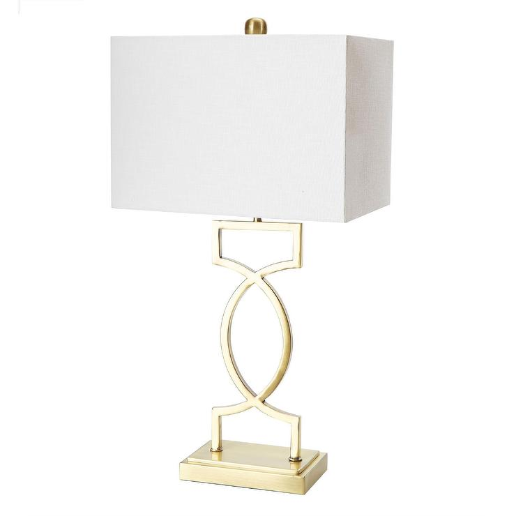 Estelle Gold White Metal Fabric Table Lamp