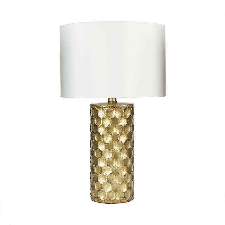 Gold Honeycomb Table Lamp With Shade
