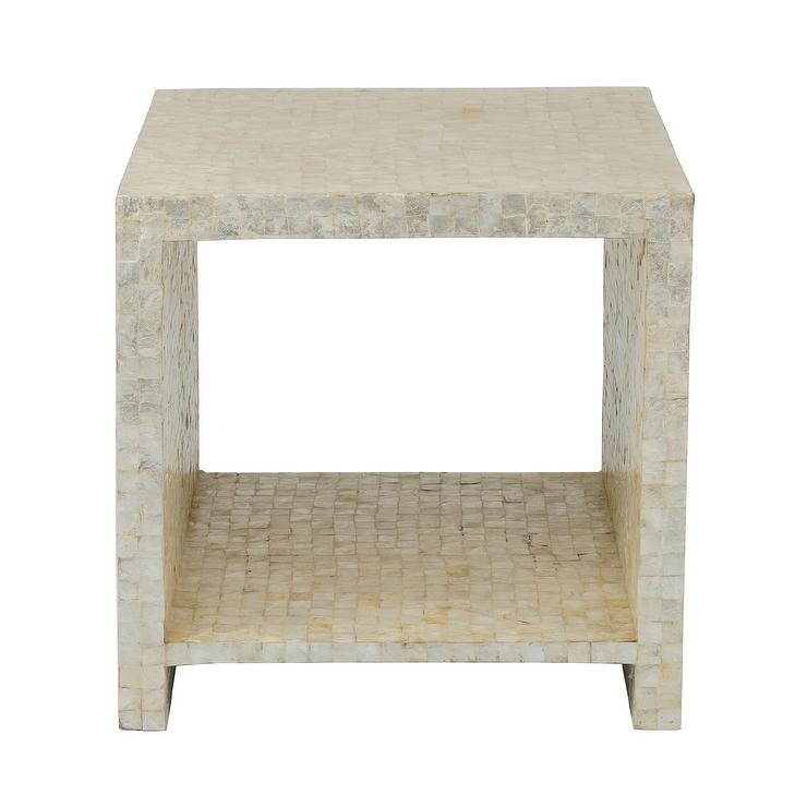 Yutan Off White Square Wood Capiz Accent Table