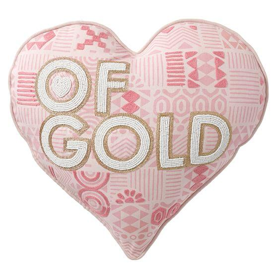 Jonathan Adler White And Gold Love And Heart Pillows