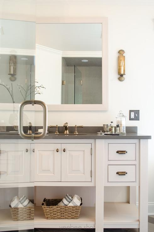 Cabinets With Brass Hardware Traditional Bathroom