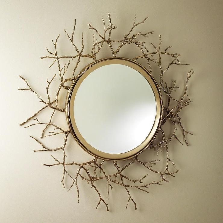 Gold Twig Round Wall Mirror