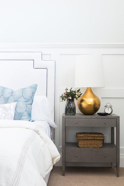 Gray Linen Nightstand with Gold Leaf Lamp Transitional Bedroom