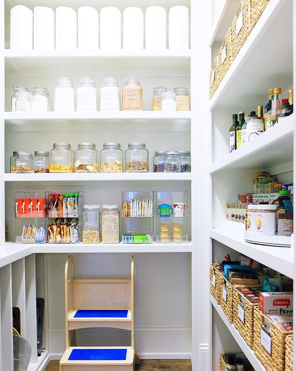 Effective Pantry Shelving Designs For Well Organized: Pantry With Vintage Metal Food Bins And Labeled Snack Bins