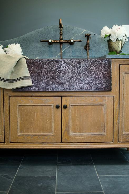 Oak Laundry Room Sink Vanity With Hammered Metal Sink
