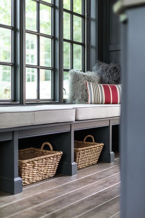 Fabulous Gray Mudroom Window Seat Bench Transitional Laundry Room Creativecarmelina Interior Chair Design Creativecarmelinacom