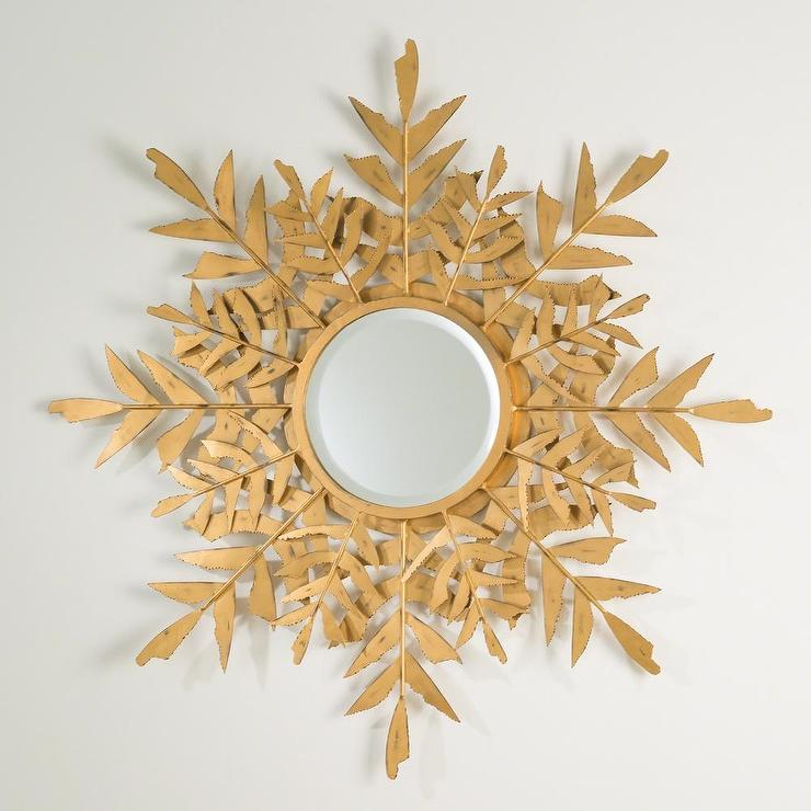 gold palm leaf wall mirror view full size