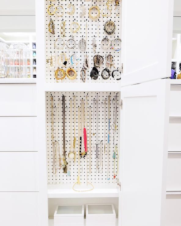 Jewelry Cabinet With Pegboard Hooks