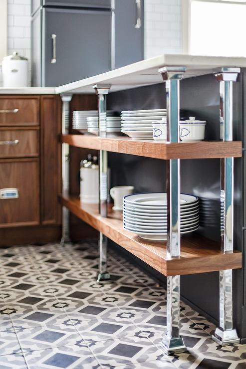 Contemporary Two Tone Kitchen Features Gray And Black Mosaic Floor Tiles  Positioned Beneath A Wood And Metal Industrial Plate Rack Topped With A  Honed White ...