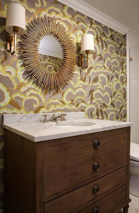 French Washstand With Brass Oval Sunburst Mirror Transitional Bathroom