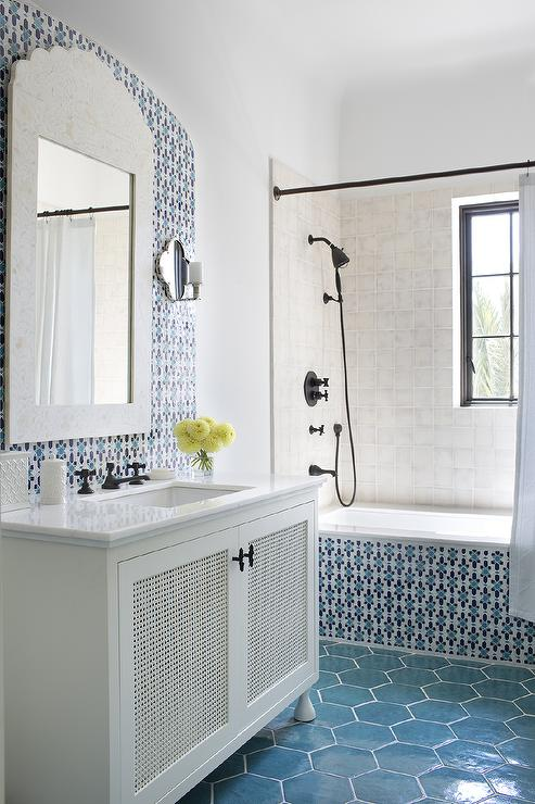 White And Blue Moroccan Style Bathroom Mediterranean