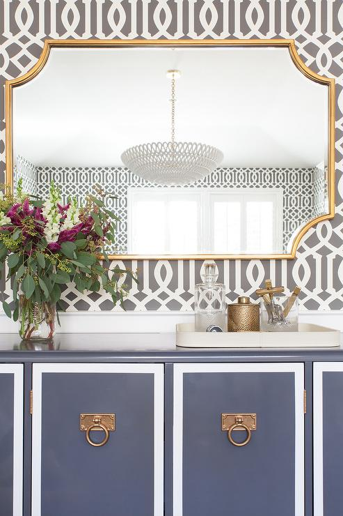 Blue Buffet Cabinet With Gold Mirror