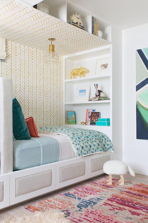 Built In Shelves Over Kid Bed