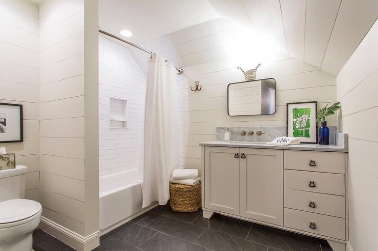 Washstand Under Shiplap Sloped Ceiling Cottage Bathroom