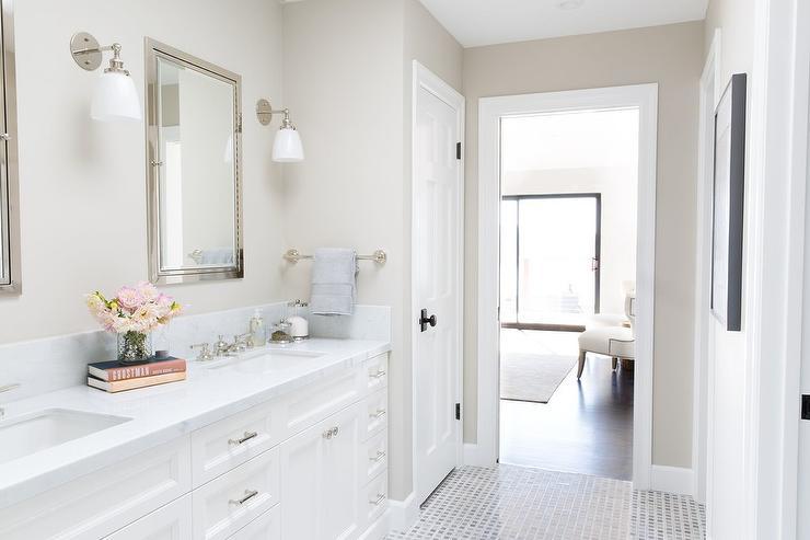 En Suite Bathroom With Inset Framed Medicine Cabinets Transitional