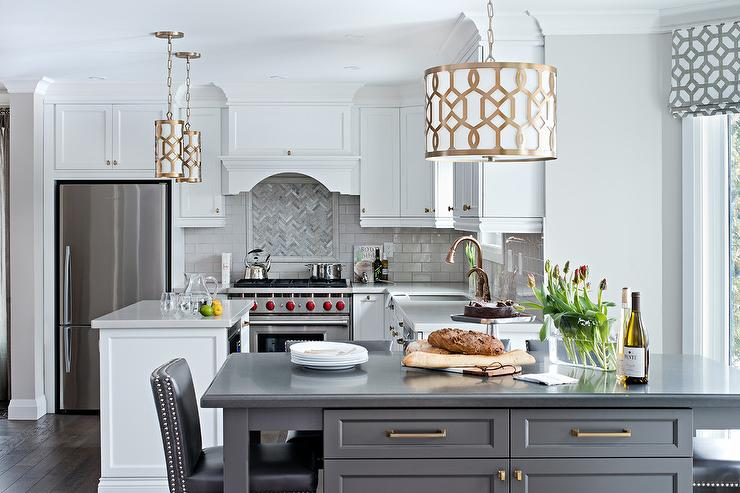White Kitchen With Gold Pendants Contemporary Kitchen