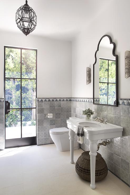 White And Gray Moroccan Style Bathroom