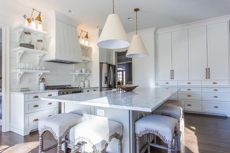 Honed Gray And White Marble Island Countertop