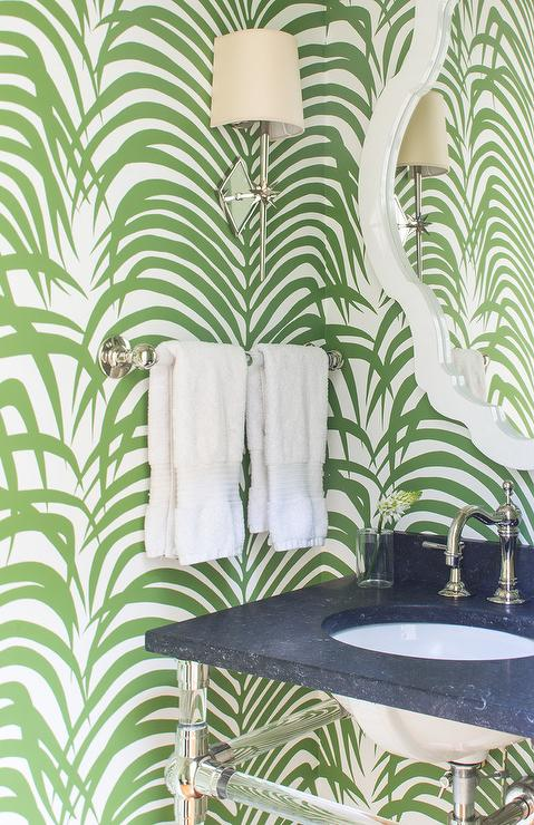 Green Powder Room With Palm Leaf Print Wallpaper
