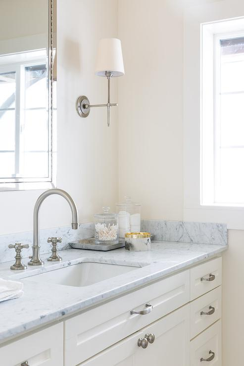 Satin Nickel Bathroom Sconces And Faucet Transitional Bathroom - Satin nickel bathroom sconces
