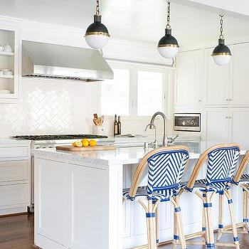 White And Blue Kitchen And Red Bentwood Counter Stools