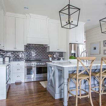 Blue kitchen island with wood and iron barstools - Kitchen island decorative trim ...