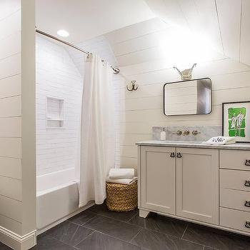 White Shiplap Bathroom With Gray Slate Herringbone Floor