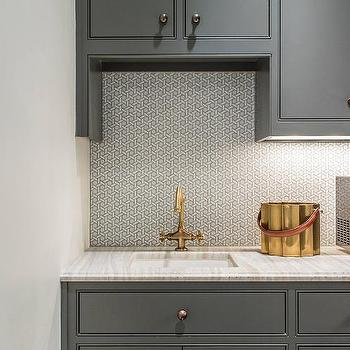 Gray Home Bar Cabinets With Dark Nickel Harwdare