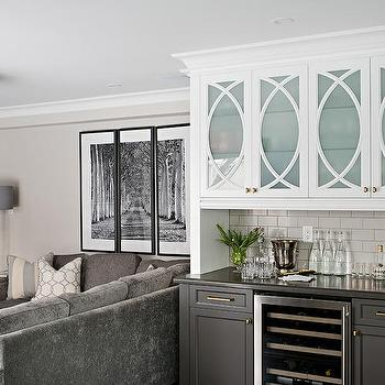 White Upper Bar Cabinets And Gray Lower Bar Cabinets
