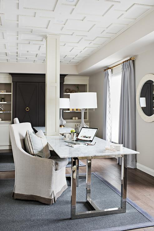 Attractive Chrome And Marble Desk With Gray Lamp