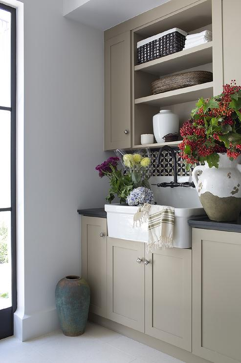Light Taupe Laundry Room Design Mediterranean Laundry Room