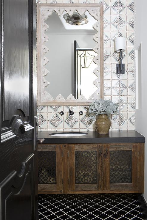 Moroccan Bathroom With Black Arabesque Tiles