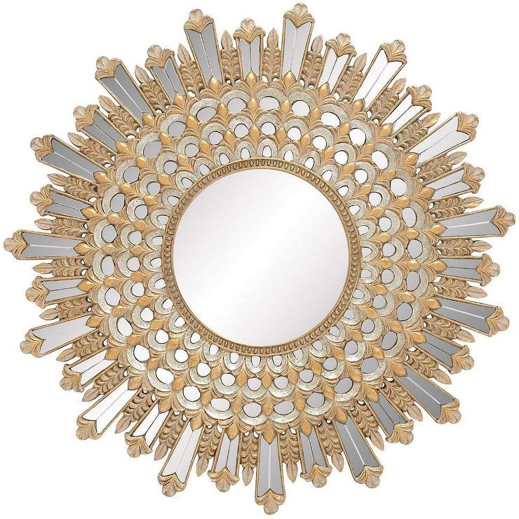 Gold Accent Sunburst Wall Mirror