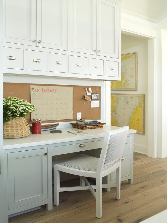 light gray kitchen desk with cork bulletin board cottage kitchen rh decorpad com kitchen cork board organizer uk kitchen cork board and chalk board