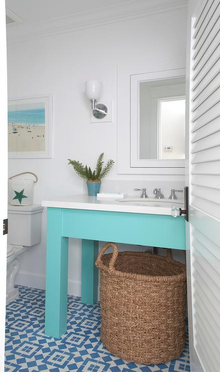 Turquoise Washstand With Blue Fez Tiles Cottage Bathroom