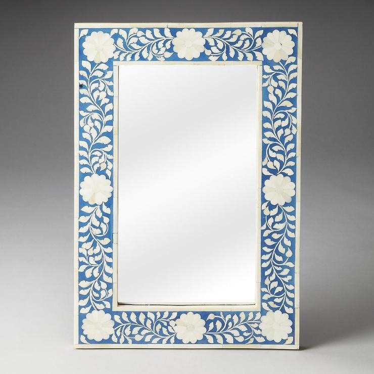 Blue Floral Bone Inlay Mirror