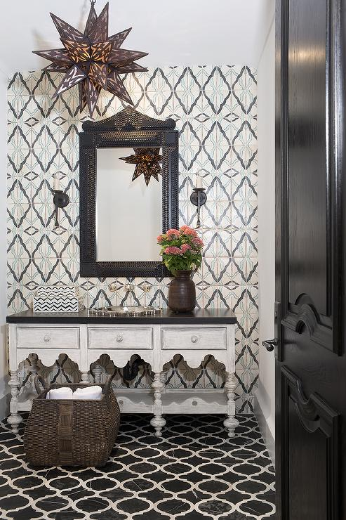 Moroccan Style Powder Room With Black Marble Quatrefoil Tiles Mediterranean Bathroom