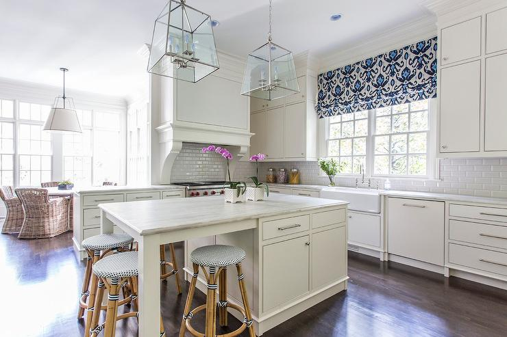 Good White Kitchen With Blue Ikat Roman Shade