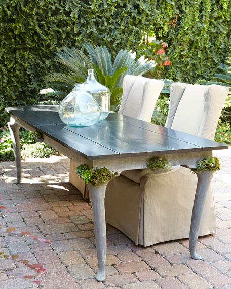 Expandable Concrete Outdoor Dining Table, Concrete Top Patio Table