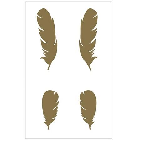 Very best Gold Metallic Feathers Wall Decals VM08
