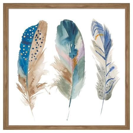 Unique Framed Watercolor Feathers Wall Art GJ08