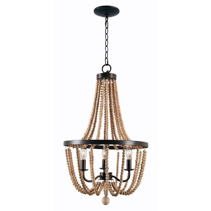 Wood bead hanging chandelier aloadofball Choice Image