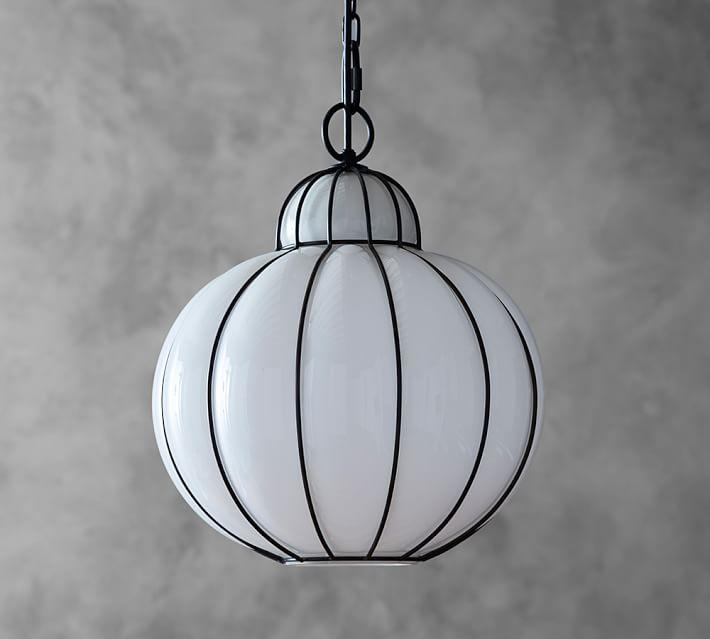 Camille milk glass caged pendant mozeypictures Gallery
