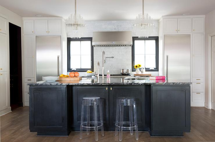 Black Kitchen island with CB2 Vapor Counter Stools and Hicks