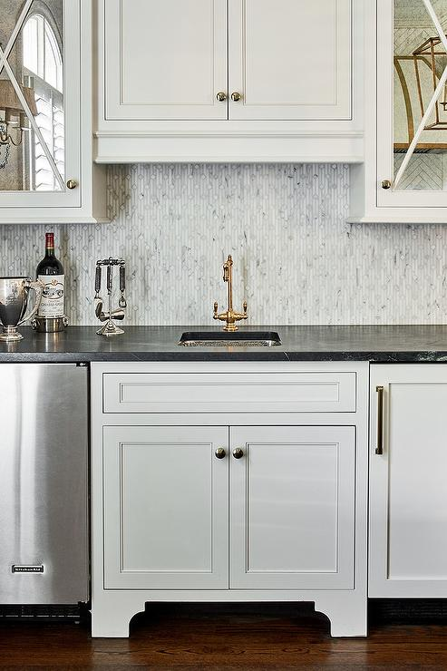 Black Bar Cabinets With Black Marble Countertops