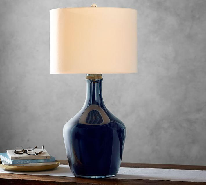 navy table lamp modern blue mattox glass table lamp