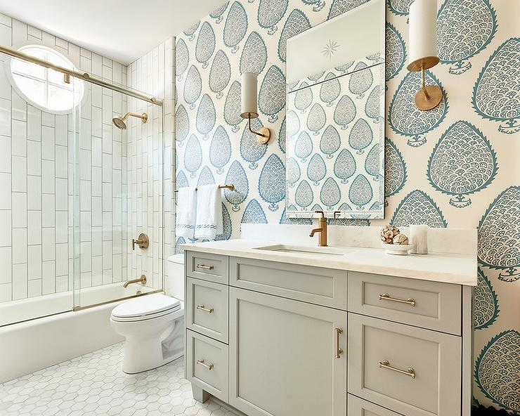 Gray bath vanity with blue wallpaper transitional bathroom for Gray bathroom wallpaper