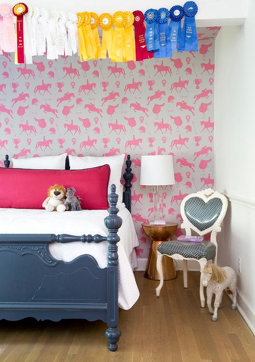 . Girl Room with Pink Horse Wallpaper   Contemporary