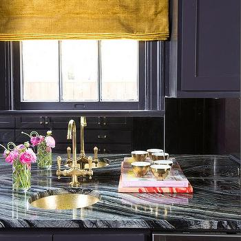 Black Cabinets With Mirrored Backsplash Contemporary