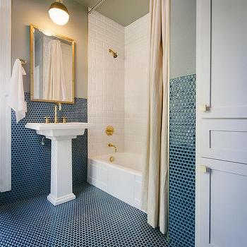 Great Blue And Gray Bathroom With Gold Accents